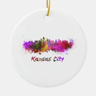 Kansas Ville skyline in watercolor Ornement Rond En Céramique
