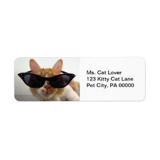 Kat die het Adresetiket van de Terugkeer van de Etiket