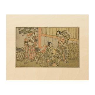 Katsukawa Shunsho Drie het Houten Canvas van