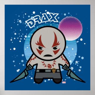 Kawaii Drax dans l'espace Poster
