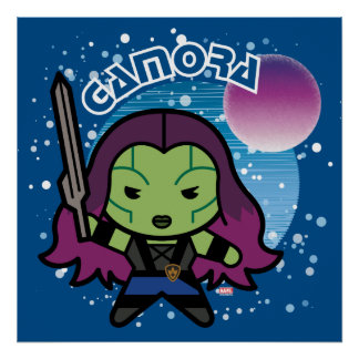 Kawaii Gamora dans l'espace Poster