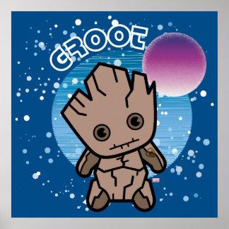 Kawaii Groot dans l'espace Poster