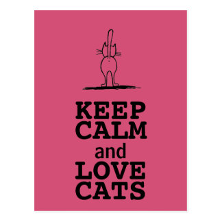 KEEP CALM AND LOVE CATS CARTES POSTALES