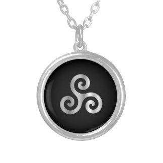 Keltische Neopaganism drievoudig spiraalvormig tri Zilver Vergulden Ketting