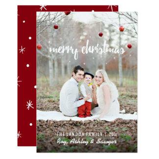 Kerstkaart met foto - Vrolijke Kerstmis 12,7x17,8 Uitnodiging Kaart