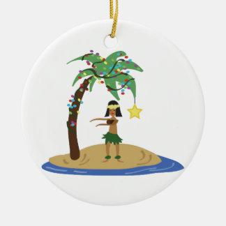 Kerstmis in Hawaï Rond Keramisch Ornament