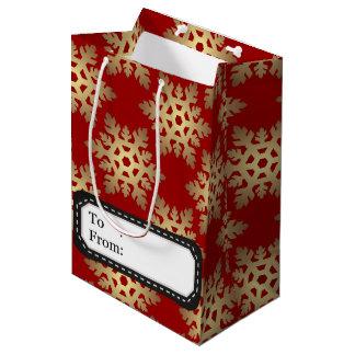 Kerstmis in rood & gouden medium cadeauzakje