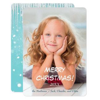Kerstmis van de Sjabloon van de Foto van de sneeuw 12,7x17,8 Uitnodiging Kaart