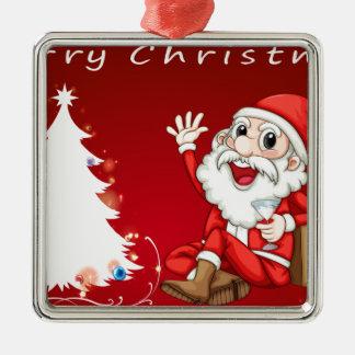 Kerstmis Zilverkleurig Vierkant Ornament