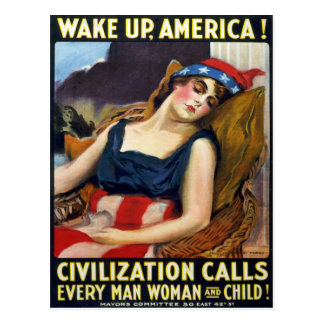 Kielzog op Amerika! Het vintage Poster van de Briefkaart