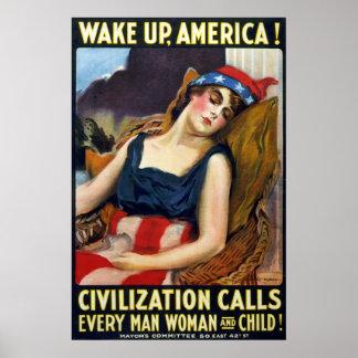 Kielzog op Amerika! Het vintage Poster van de Were