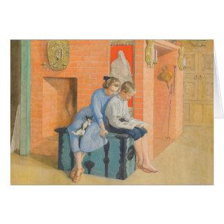 Kirsti et Esbjorn lisant un livre ensemble Carte De Vœux