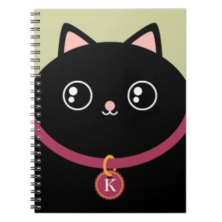 Kitty noir mignon font face au monogramme nommé fa carnets à spirale