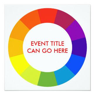 kleuren wiel 13,3x13,3 vierkante uitnodiging kaart