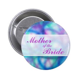 Kleurrijk Modern Huwelijk. Moeder van de Bruid Ronde Button 5,7 Cm