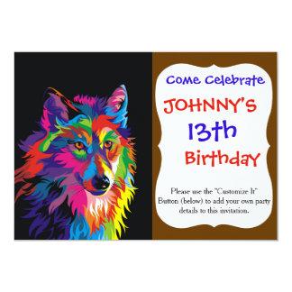 Kleurrijke vos 12,7x17,8 uitnodiging kaart