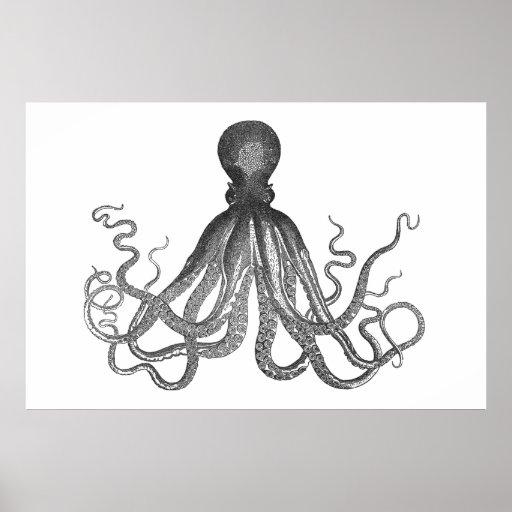 Kraken - poulpe géant noir/Cthulu Posters