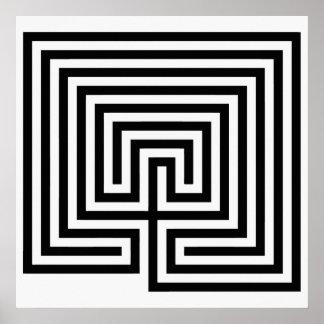 Kretenzisch Labyrint in zwart-wit Poster