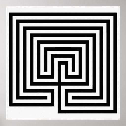 Kretenzisch Labyrint in zwart-wit Posters