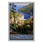 """La affiche vintage de voyage de la Riviera Italie"