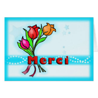 La bande dessinée mignonne de Merci français de Carte De Vœux