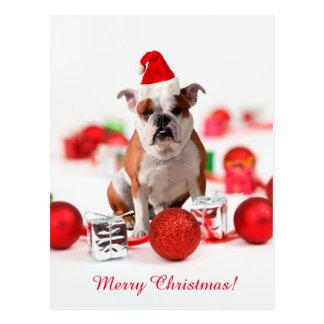 La boîte-cadeau de Noël de bouledogue ornemente le Cartes Postales