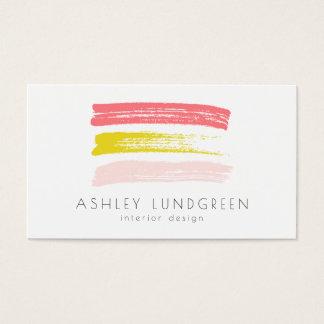 La brosse rose et jaune d'aquarelle frotte moderne cartes de visite