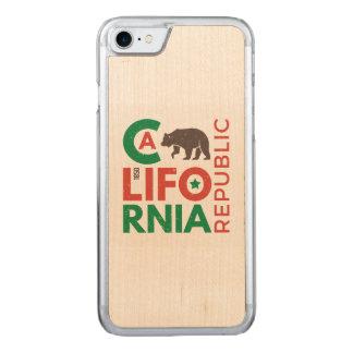 La Californie avec le logo d'ours gris Coque En Bois iPhone 7
