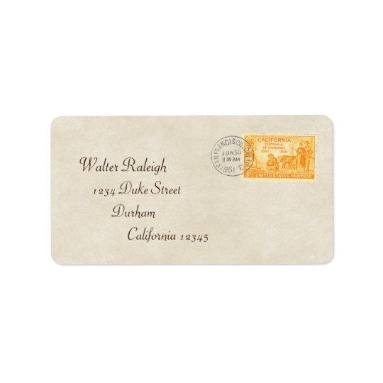 La Californie vintage de 'étiquette de adresse 50 Étiquette D'adresse
