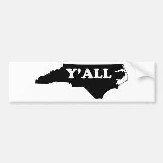 La Caroline du Nord Yall Autocollant De Voiture