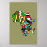 La carte africaine des drapeaux de l'Afrique dans  Affiches