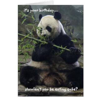 La carte d'anniversaire drôle de panda, mangent le