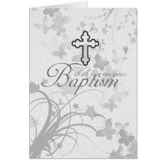 La carte de baptême avec la croix fleurit des
