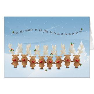 la carte de chanson de vacances de Noël de renne