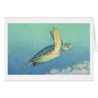 La carte de note de tortue de mer verte