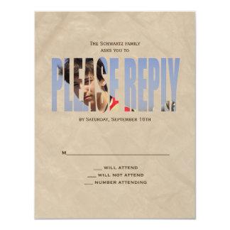 La carte- de réponse de photo de Mitzvah de barre Carton D'invitation 10,79 Cm X 13,97 Cm