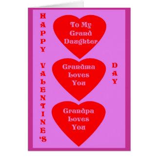 La carte de Valentine pour la petite-fille