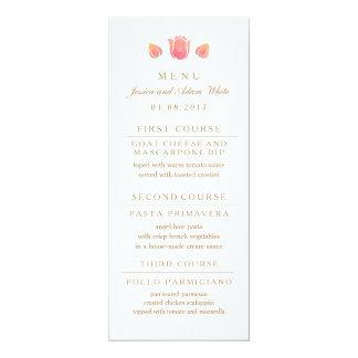 La carte rose de menu de mariage de tulipe carton d'invitation  10,16 cm x 23,49 cm