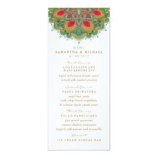 La carte verte de menu de mariage de mandala carton d'invitation  10,16 cm x 23,49 cm