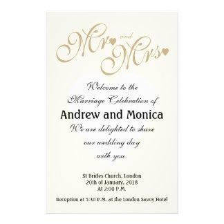 La cérémonie de mariage élégante d'or programme prospectus 14 cm x 21,6 cm