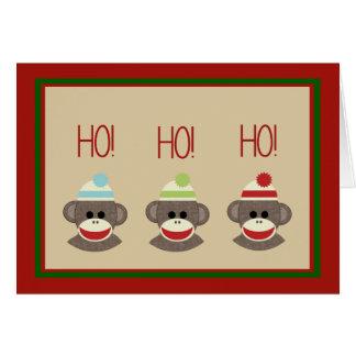 La chaussette Monkeys la carte de vacances de Noël