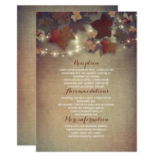 La chute laisse les détails rustiques de mariage - carton d'invitation  11,43 cm x 15,87 cm