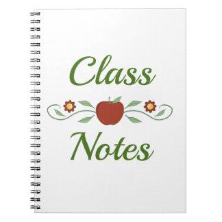 La classe note le carnet de notes à spirale
