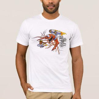 La colère du T-shirt de blanc de crevette rose