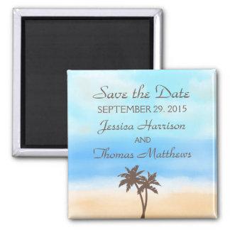 La collection de mariage de plage d'aquarelle magnet carré