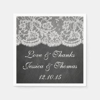 La collection de tableau et de mariage de dentelle serviettes en papier