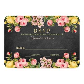 La collection florale vintage de mariage de carton d'invitation 8,89 cm x 12,70 cm