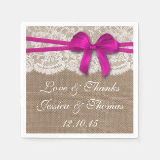 La collection rose rustique de mariage d'arc serviette en papier
