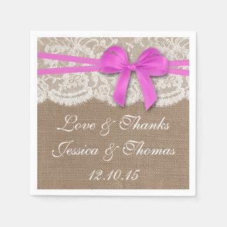 La collection rose rustique de mariage d'arc serviettes jetables