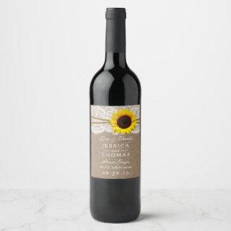 La collection rustique de mariage de tournesol étiquette pour bouteilles de vin